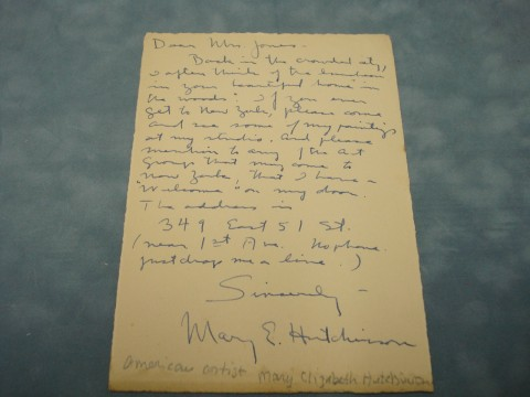 Letter from Mary E. Hutchinson to Mrs. Jones