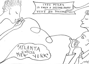 """Mary E. Hutchinson cartoon """"Atlanta Calling New York"""""""