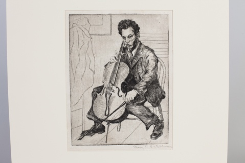 etching of man playing cello